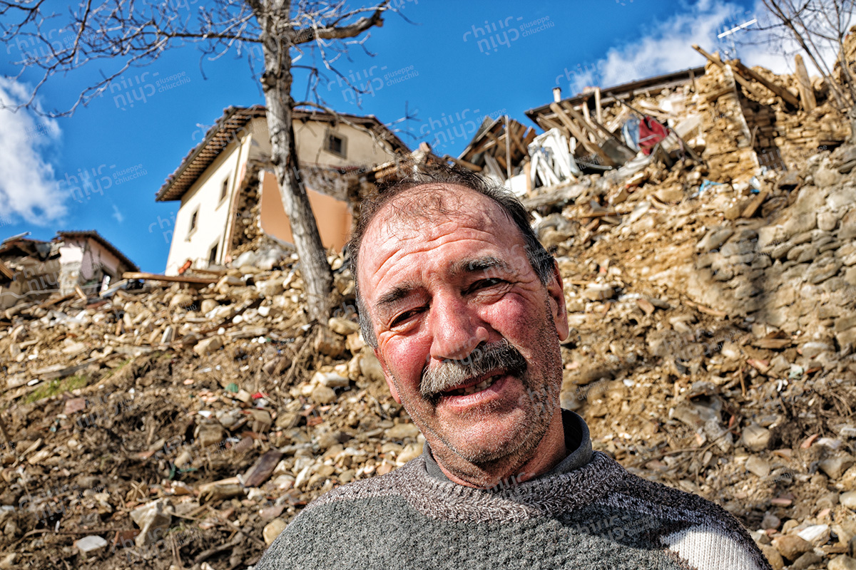 Italy - Central Italy earthquake with rubble behind
