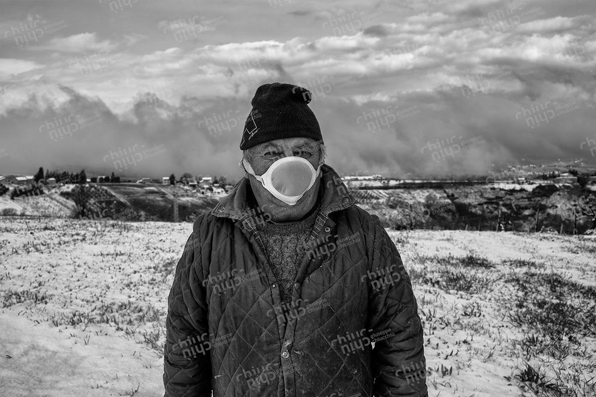 Italy - Marche region, farmer in the days of the coronavirus