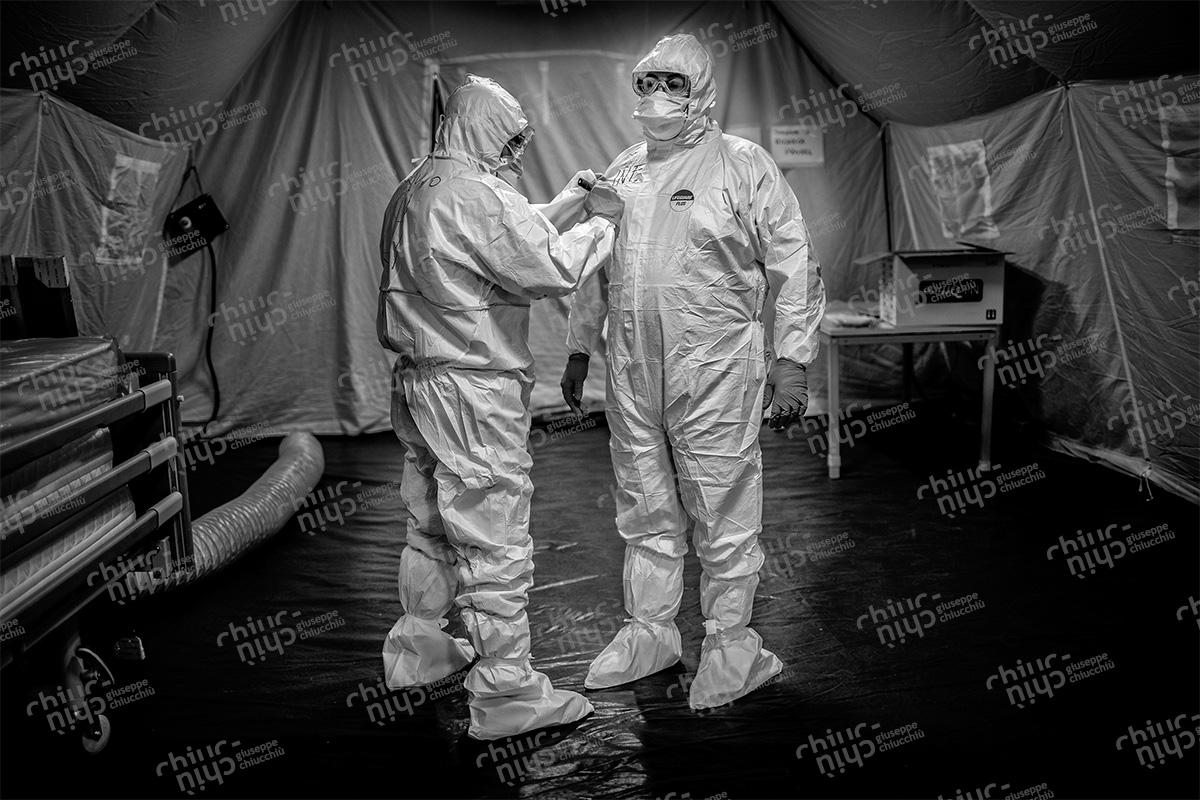 Italy - Inside the covid-19 field hospital set up by the Italian Navy in Jesi